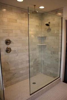 Marble Subway Tile, Doorless walk-in, double shower heads, hexagon floor tile by jeri