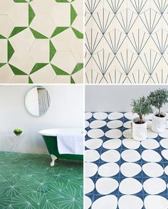 beautiful tiles // Marrakech Design tile co Glass Tile Bathroom, Bathroom Floor Tiles, Floor Design, Tile Design, House Design, New Home Designs, Bathroom Interior Design, Bathroom Inspiration, Marrakech