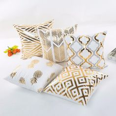 """Universe of goods - Buy """"MIHE Christmas Cushion Cover Decorative Pillow Case Eco-Friendly Gold Sofa Seat Case Car Pillowcase Soft Bed Pillow Case for only USD. Gold Decorative Pillows, Gold Pillows, White Pillows, Christmas Cushion Covers, Christmas Cushions, Christmas Decor, Living Room Decor Cozy, Living Room Colors, Cozy Room"""