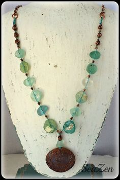 Sea Glass, Ancient Roman Glass, Stamped Copper Pendant, Linen Cord, Blue/Green OOAK Necklace by SeaZenCreations on Etsy