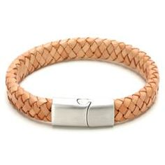 Brown Mens Braided Leather Bracelet