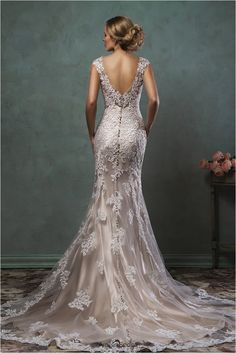 15 Sleeveless Schiffli Lace On Tulle Over Textured Tulle and Flare Gown With Curved V-neckline