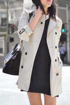 easy #officewear: Mango dress, Theory blouse, Burberry #trenchcoat &  celine bag