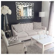 Here is a better picture of my living room I'm so glad my mirror is finally up! I absolutely love it!! @zgallerie #TheFabClassyChic