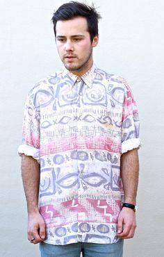 Vintage Abstract Tribal Print Long-Sleeve Shirt