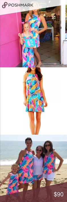 Lilly Pulitzer Margot Dress A vibrant dress that's perfect for the season! Printed swing dress in pima cotton jersey. Halter neckline. Sleeveless design. Tasseled tie at nape. Keyhole back. Straight hemline. Slip-on. Unlined. 100% pima cotton. Machine wash cold, tumble dry. GORGEOUS! Lilly Pulitzer Dresses