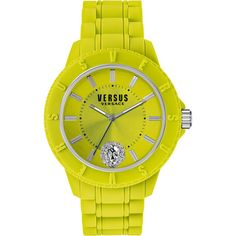 Versus Versace Tokyo R Watch (215 CAD) ❤ liked on Polyvore featuring jewelry, watches, quartz movement watches, stainless steel jewelry, versus watches, yellow watches and silicone strap watches