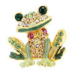 Women Glamour Girlz Ladies Luxury Enamel Amphibian Lover Brooch Lapel Pin Toad Frog Dark Green