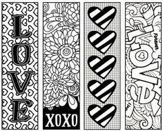 Fun Valentine's bookmarks for children to color and give as gifts - free printables