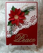 carterie, pergamano et tableaux - Page 22 I used my gold gilding flakes over sticky paper then die cut also same for the flower center I love gold accents with red Festive Martha Stewart border punch Christmas Card Crafts, Homemade Christmas Cards, Christmas Cards To Make, Christmas Greeting Cards, Greeting Cards Handmade, Homemade Cards, Handmade Christmas, Christmas Music, Christmas Projects
