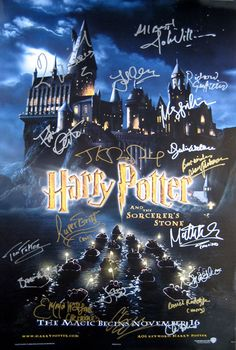 HARRY POTTER original 27x40 movie poster signed by Daniel Radcliffe (Harry Potter), Rupert Grint (Ron Weasley), Emma Watson (Hermione Granger) and the cast
