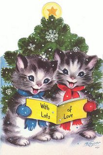 Two Kittens Reading a Book – Christmas DIY Holiday Cards Cat Christmas Cards, Christmas Kitten, Christmas Graphics, Old Christmas, Old Fashioned Christmas, Christmas Scenes, Christmas Animals, Retro Christmas, Xmas Cards