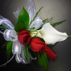 White Calla Lily with Mini Red Roses Prom Corsage Prom Corsage And Boutonniere, White Boutonniere, Flower Corsage, Corsage Wedding, Wedding Bouquets, Boutonnieres, Homecoming Flowers, Prom Flowers, Bridal Flowers