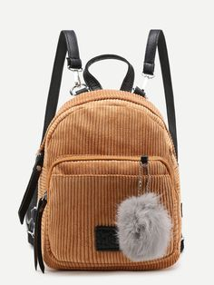 SheIn offers Pom Pom Decorated Corduroy Backpack & more to fit your fashionable needs. Brown Backpacks, Cute Backpacks, Large Bags, Small Bags, Mochila Kpop, Fashion Bags, Fashion Backpack, Fashion Fashion, Fashion Ideas