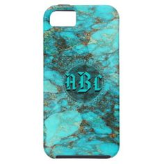 Turquoise Monogram Initials CustomizeABLEs iPhone 5 Case
