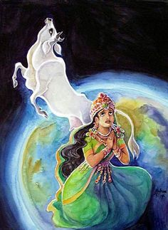 Mother Bhumi, or Mother Earth, the presiding deity of the earth planet, felt distressed by the burden. She turned herself into the shape of a cow and went up to the planet of Lord Brahma, the topmost of the demigods, to ask for help. The Vedic culture, which is the highest culture throughout the universe, values cow protection, so she felt confidant that her chances of success in getting help would be enhanced by her having become a cow.