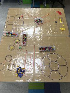 Use a shower curtain for Math Centers Numbers Kindergarten, Kindergarten Math Activities, Math Numbers, Math Resources, Preschool Activities, Early Years Maths, Early Math, Maths Eyfs, Math Classroom
