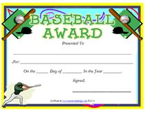 Free printable sport certificates over 100 available all free green base baseball award certificate toneelgroepblik Images