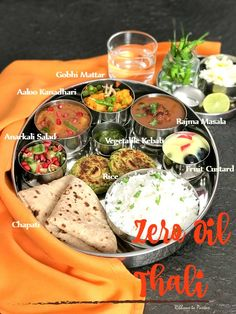 Zero Oil Thali is a spread of Indian dishes which are cooked with absolutely zero oil and yet it's a great spread which tastes delicious . Vegetarian Snacks, Vegetarian Cooking, Cooking Recipes, Healthy Recipes, Gujarati Cuisine, Gujarati Food, Lunch Recipes Indian, Veg Thali, Food Lab