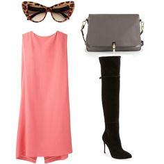 """""""pink dress + over the knee boots."""" by charlieandfog on Polyvore  leopart cat-eye sunglasses"""