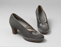 Pair of suede and leather court shoes 'Burlington', made by Freeman, Hardy & Willis for Utility, England, Museum Number 1940s Shoes, Leather Court Shoes, 1940s Fashion, Loafers, Pairs, Flats, England, Collection, Travel Shoes