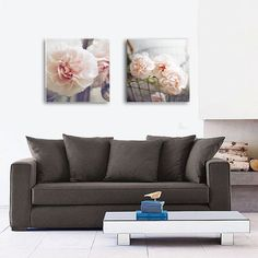 SET OF 2 Shabby Chic Carnation Photo Canvas by AndreaHurleyPhoto