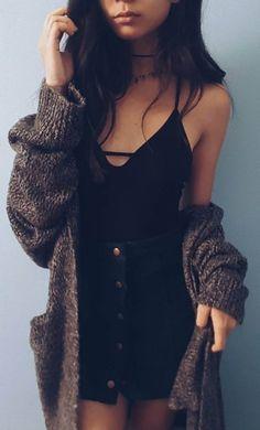 Fall Outfit Knit Cardi Plus Black Top Plus Denim Skirt
