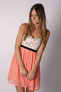 White lace top coral bottom dress