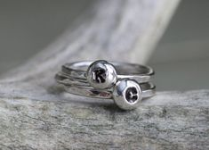 Silver Drop Personalized - Initial Stacking Rings - Stackable Name Ring - Hand Stamped Ring - Custom Stacking Ring - Personalized Ring Set