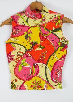 Betsey Johnson Punk Label Vintage Neon Floral Crop Top