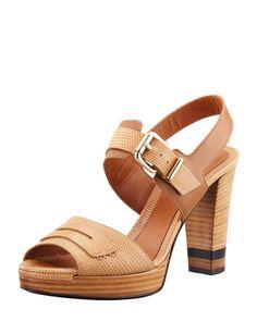 Fendi Penny-Strap Lizard-Embossed Leather Sandal, Beige - Bergdorf Goodman; very classic