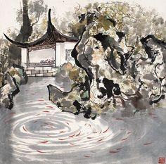 Garden, pool, eddy, rock, pavillion - by  Wu Guanzhong (吳冠中, 1919–2010)