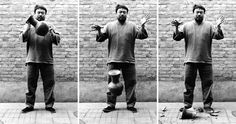 """""""Dropping a Han Dynasty Urn"""" by Ai Weiwei, a comment on the Chinese regime's destruction of historical Chinese artefacts. 1995"""
