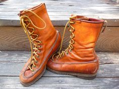Vintage Leather Lace up Boots Moc Toe Lace up Boot  by BoneDry