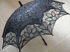 """Lace-Parasols: """"Frances"""" Black Battenburg Lace Parasol"""