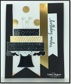 Birthday card made with the new Build a Birthday stamp set from Stampin Up by Kathleen Wingerson  www.kathleenstamps.com