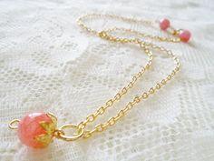 Rhodochrosite gold plated pendant necklace Healing gemstone