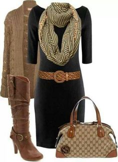 Black and brown winter work outfit. It's just a difficult one! Not always brown and black go together, but this little outfit looks really nice! Fashion Mode, Work Fashion, Womens Fashion, Fashion Ideas, Style Fashion, Full Figure Fashion, Fashion Outfits, Fashion Stores, Diva Fashion