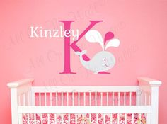 Wall Decal Monogram Whale Wall Decal Baby by AllOnTheWallVinyl