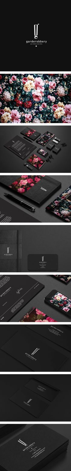 Garderobbery | Pavel Ilyuk I don't know what they're selling, but I want some.  Love the cool black, modern look font, traditional floral