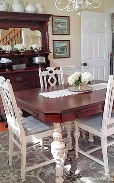 two tone dining room table/white table base with dark stained top/general finishes antique white/general finishes java gel stain/dining table makeover