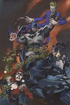 Batman and Catwoman vs. THe Joker, Harley, Ivy, and Two-Face by Chris Stevens *