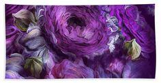 Peonies In Purples 2 bath sheet featuring the art of Carol Cavalaris.