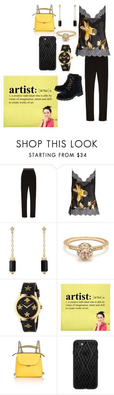 """""""Black and yellow"""" by heidibartholdy on Polyvore featuring Peter Pilotto, Carine Gilson, David Yurman, Gucci, Fendi, Casetify and Off-White"""
