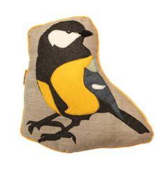 Bird Pillow - GREAT TIT, Handmade pillow with a felt bird reflecting one of the most cheerful birds seen in our gardens
