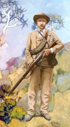 Boer commando in the Transvaal, Anglo-Boer War. Clearly based on the center gentleman of the photo I use for the cover of this board. Military Art, Military History, The Spanish American War, War Novels, Savage Worlds, British Colonial, Modern Warfare, African History, Soldiers