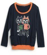 Navy Cats Print Cartoon Loose Cotton Sweatshirt $31.84    Oh my Goodness!!!!!  #SheInside