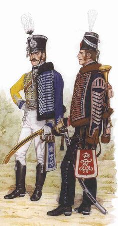 Officer 7th Hussars and trumpeteer 3rd Hussars.  Prussia had eleven hussar regiments in total.