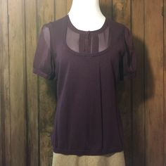 George ME by Mark Eisen Sweater Purple sweater with sheer sleeves and neckline. Great condition. George Sweaters Crew & Scoop Necks