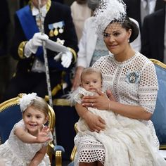 Crown Princess Victoria with her children, Princess Estelle and her baby brother, Prince Oscar